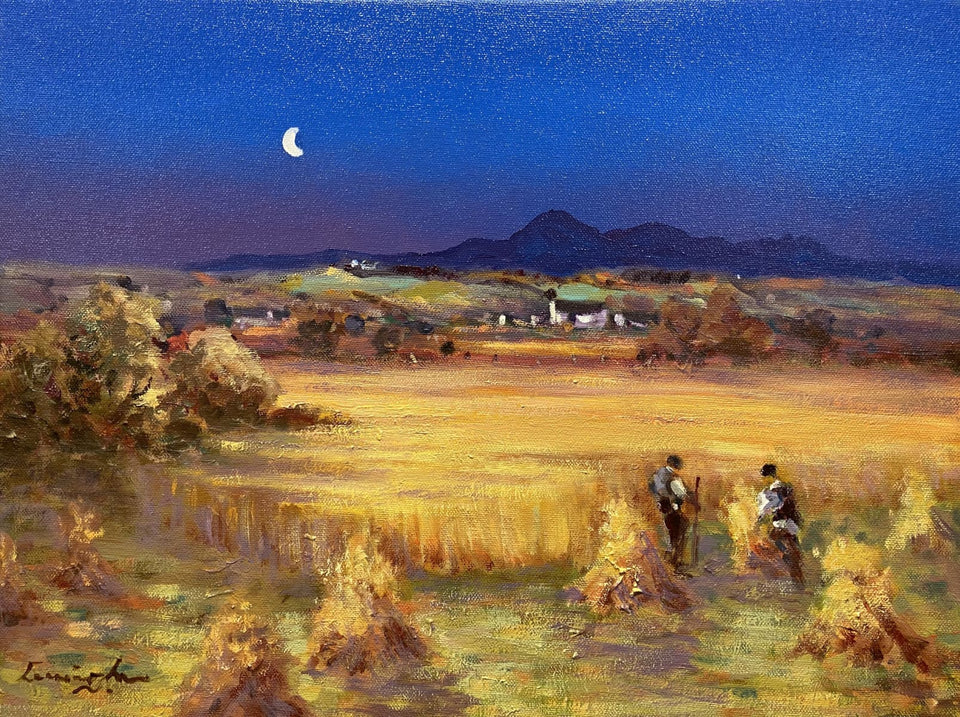 Stooking Corn By Moonlight Near The Mournes Co.down. Original Artwork