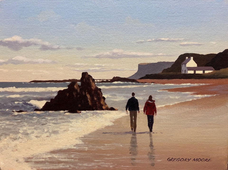Stroll On Ballycastle Beach Original Artwork