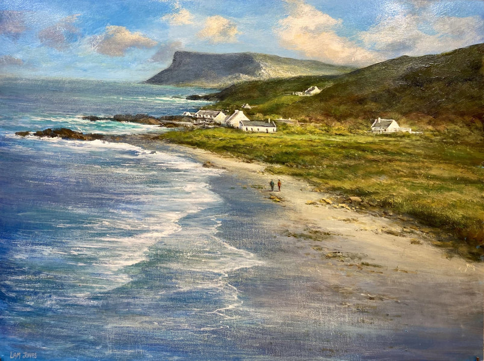 Stroll On Ballycastle Strand Near Fairhead Co.antrim Original Artwork