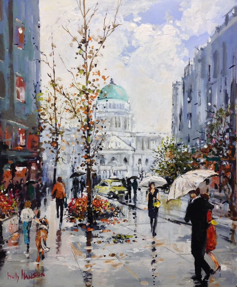 Sudden Downpour Donegall Place Belfast Original Artwork