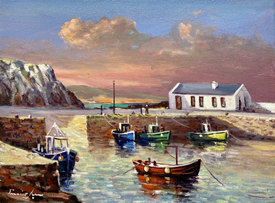 Sun Setting On Ballintoy Harbour Co.antrim Original Artwork