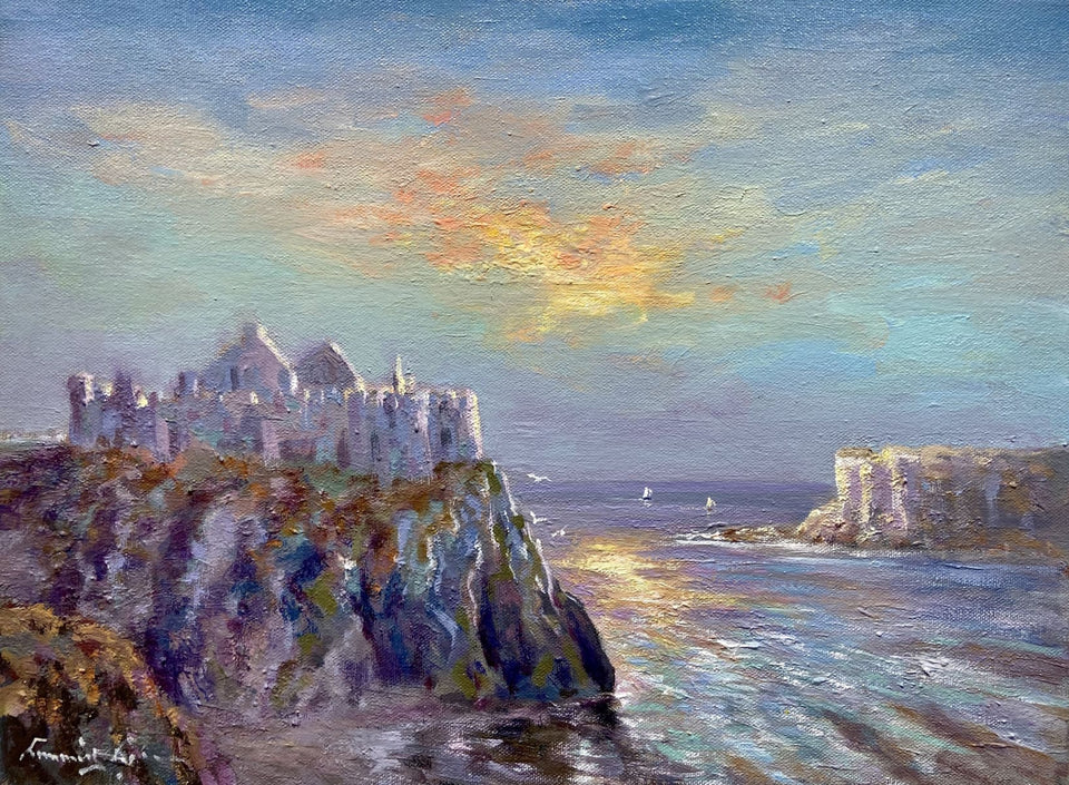 Sun Setting On Dunluce Castle Co.antrim Original Artwork