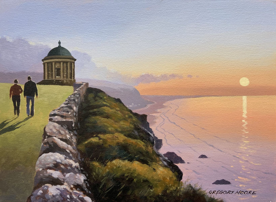 Sunset Stroll Near Mussenden Temple Downhill Original Artwork