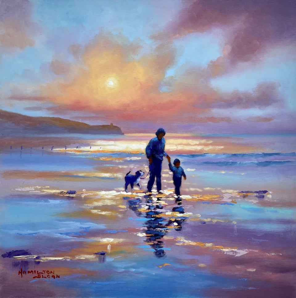 Sunset Stroll Portstewart Strand Original Artwork