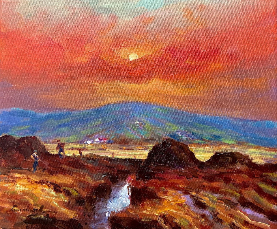 Sunsetting Over The Blue Hills Of Antrim. Original Artwork