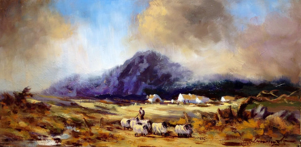 Tending Sheep In The Mournes Co.down Original Artwork