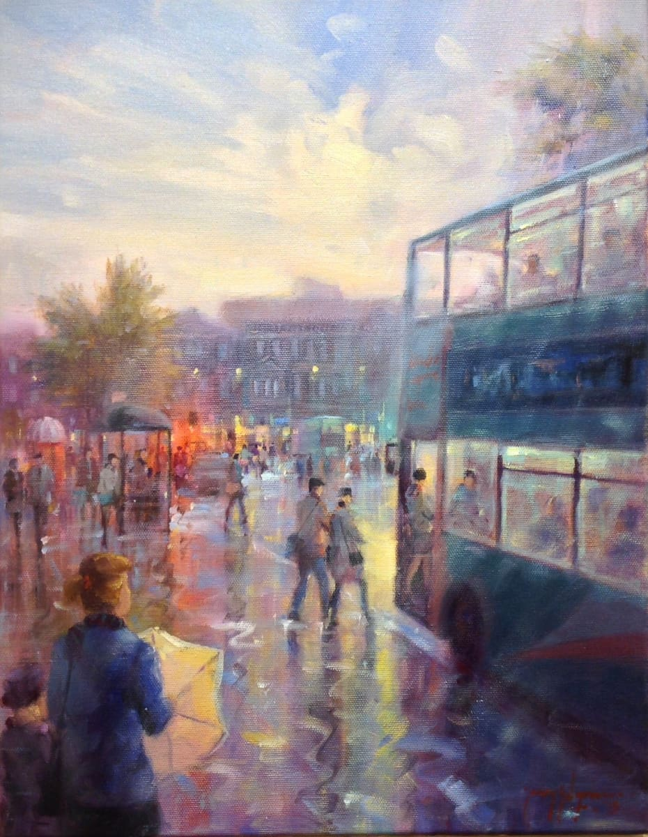 The Evening Commute Donegal Square Belfast Original Artwork