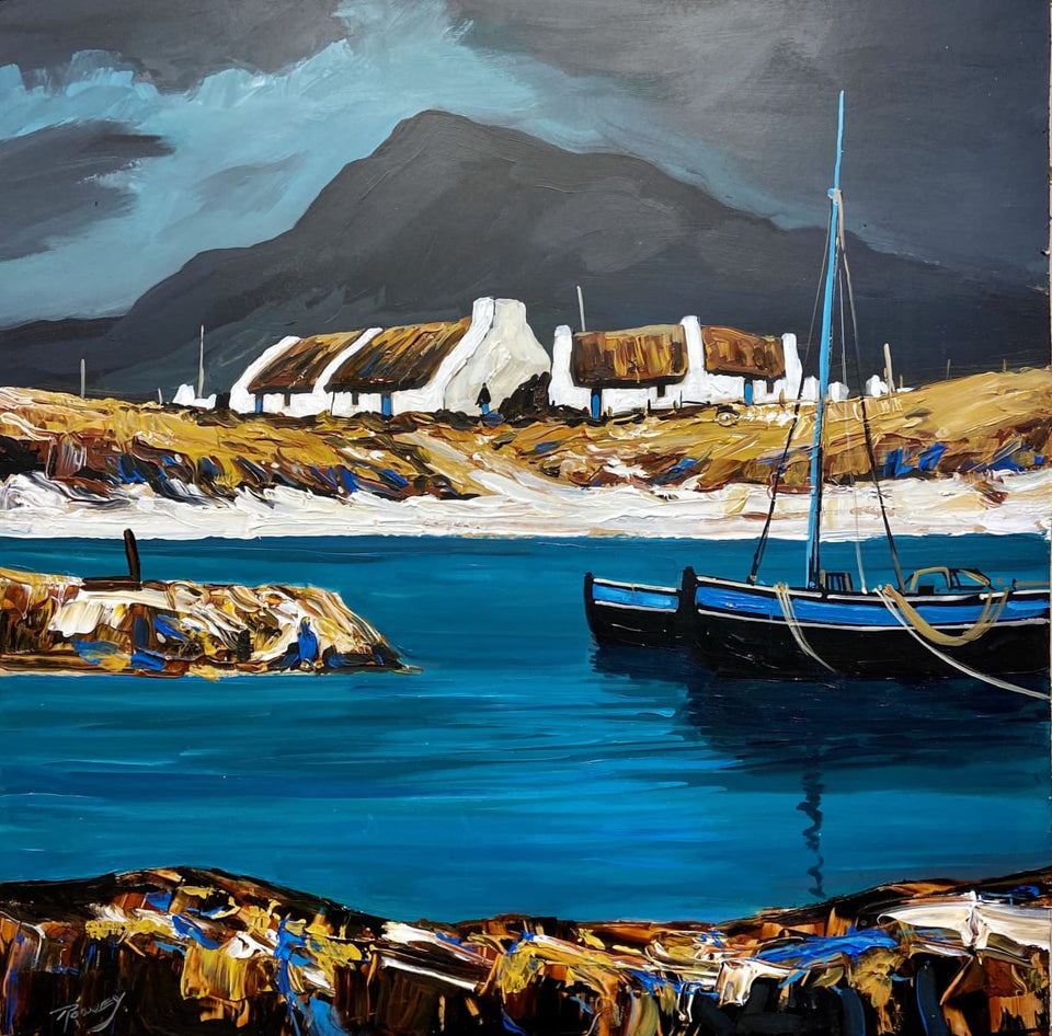 The Homes Of Achill Emerald Water Original Artwork