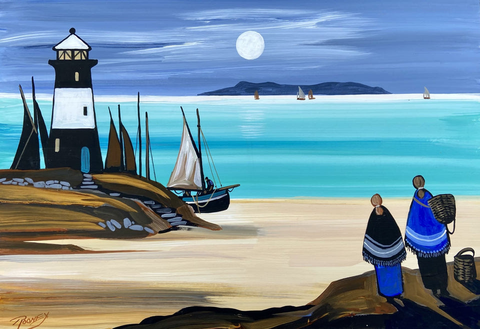 The Lighthouse Moon Original Artwork