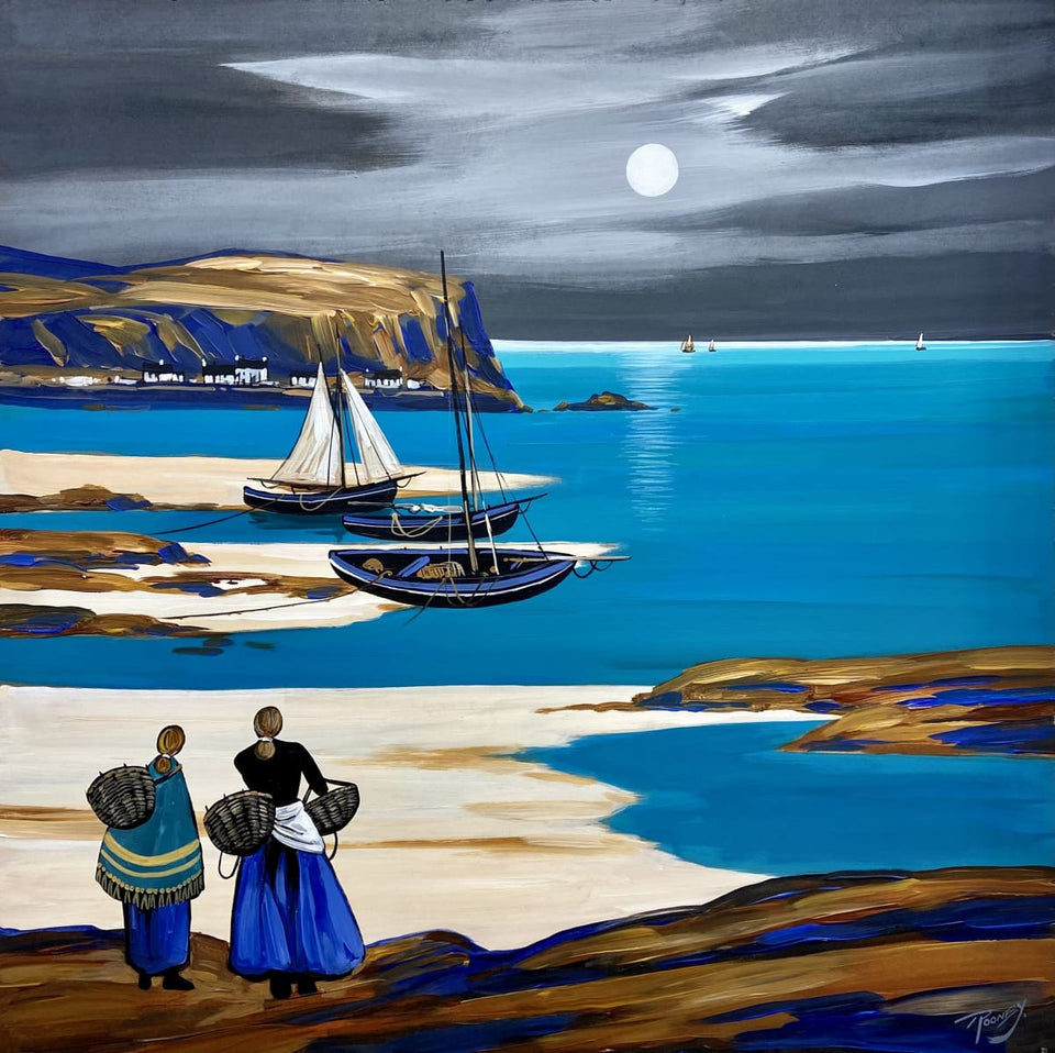 The Moon At Portbradden Co.antrim Original Artwork by J.P.Rooney