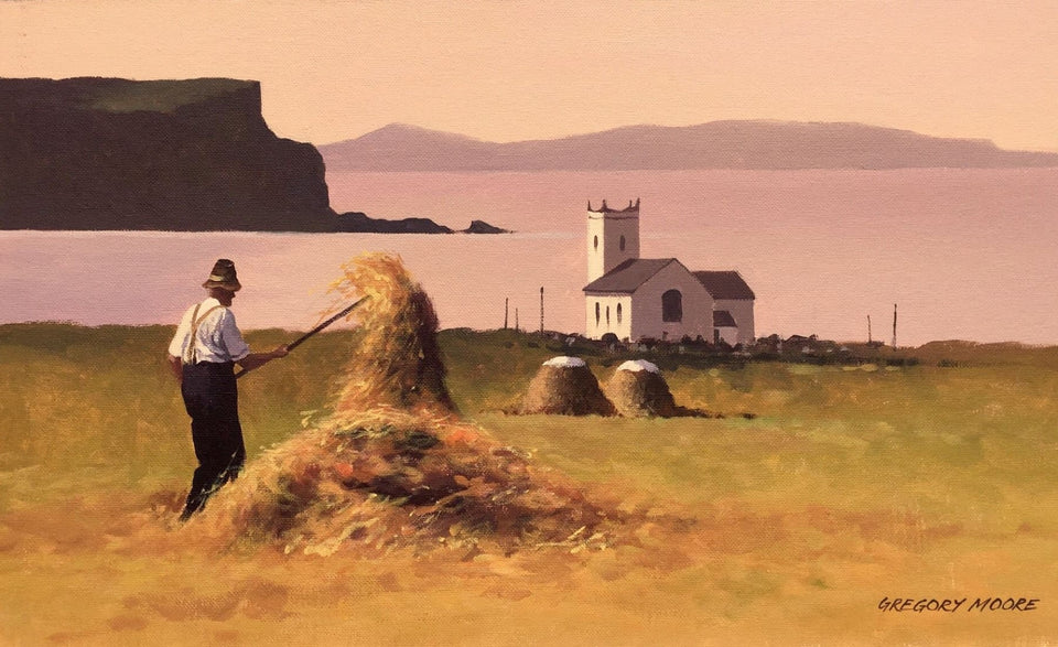 Tossing Hay On A Summers Evening Ballintoy Original Artwork