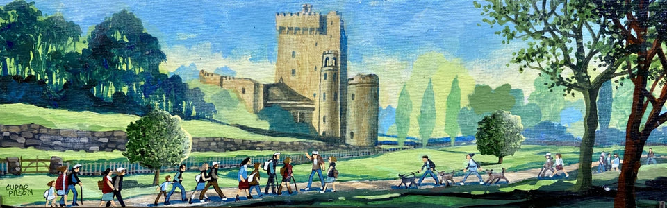 Tourists At Blarney Castle Co.cork Original Artwork