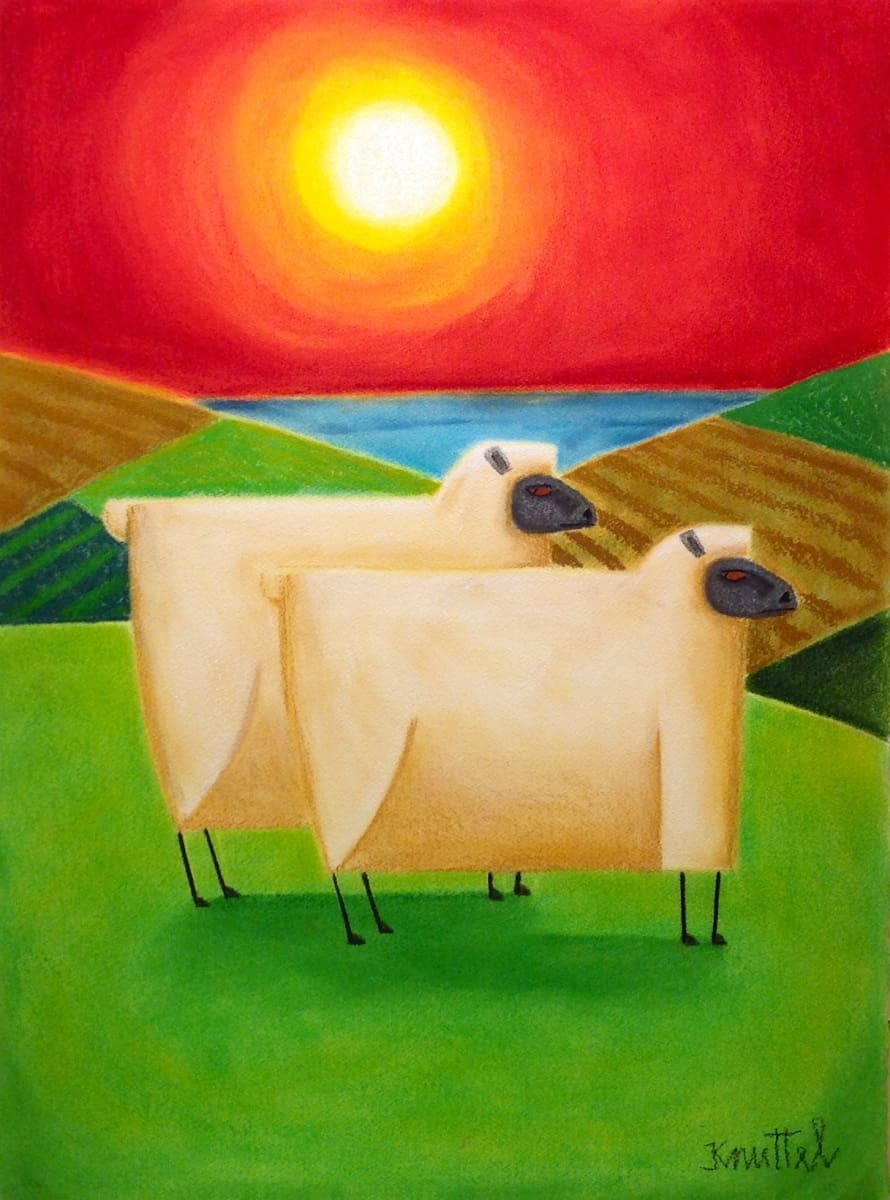 Two Sheep At Sunset Original Artwork
