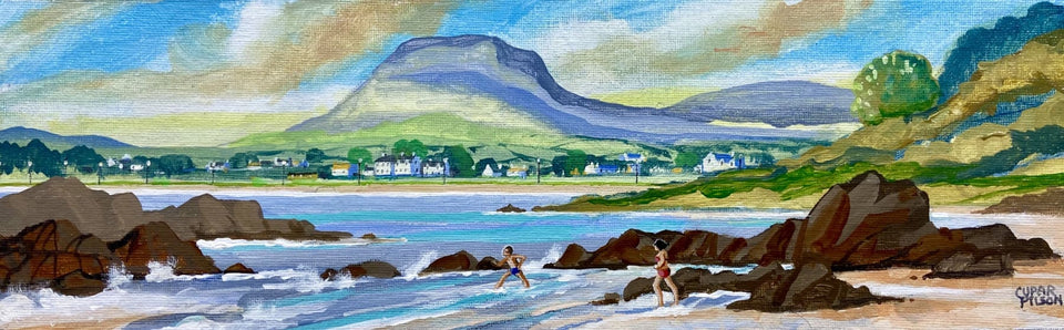 View Of Cushendall & Lurigethan Mountain Co.antrim Original Artwork