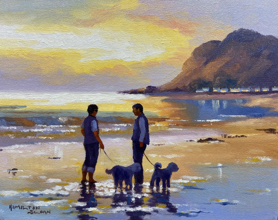 Walking The Dogs Ballygally Beach Co.antrim Original Artwork