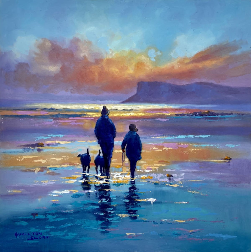 Walking The Dogs By Sunrise Fair Head Ballycastle Original Artwork