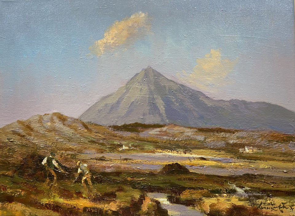 Working The Turf Near Errigal Co.donegal Original Artwork