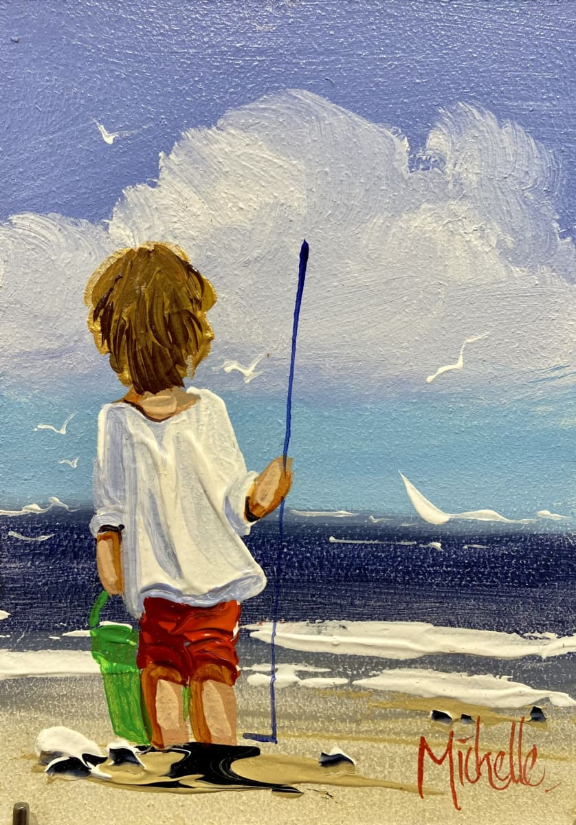 Young Boy Going Fishing Original Artwork