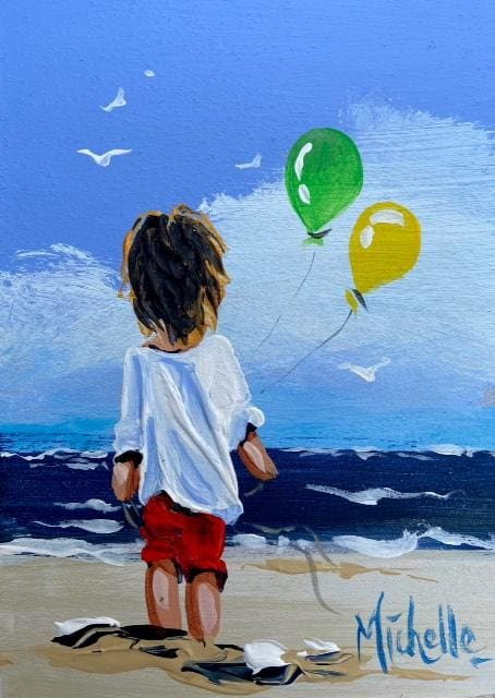 Young Boy With Balloons 7 X 5 / 17.5 12.5 Oil Original Artwork