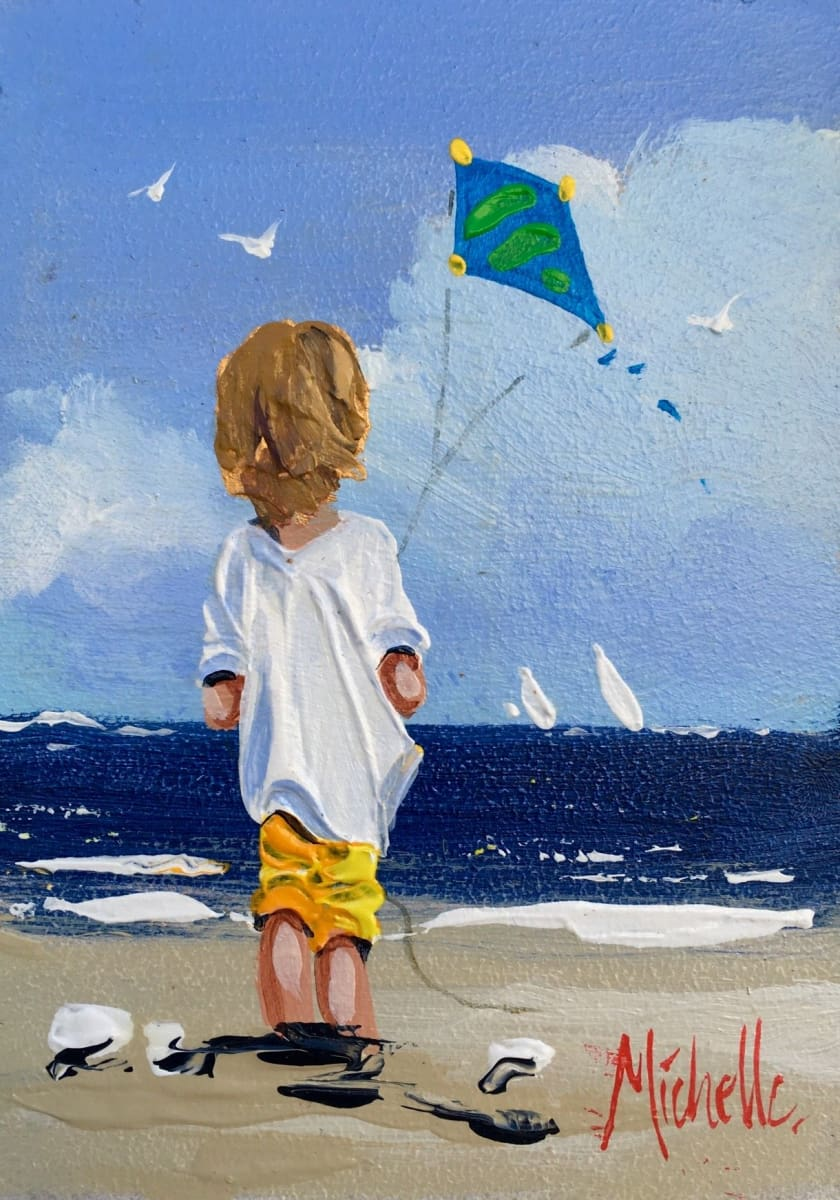 Young Boy With Kite Original Artwork
