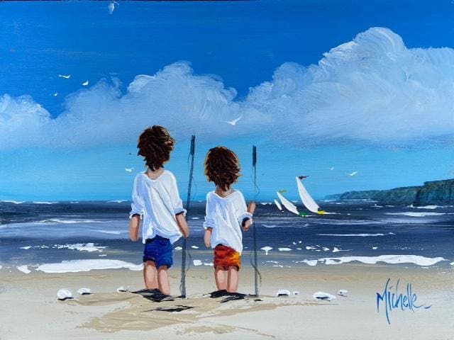 Young Fishermen By North Antrim Coast 12 X 16 / 30 40 Oil Original Artwork
