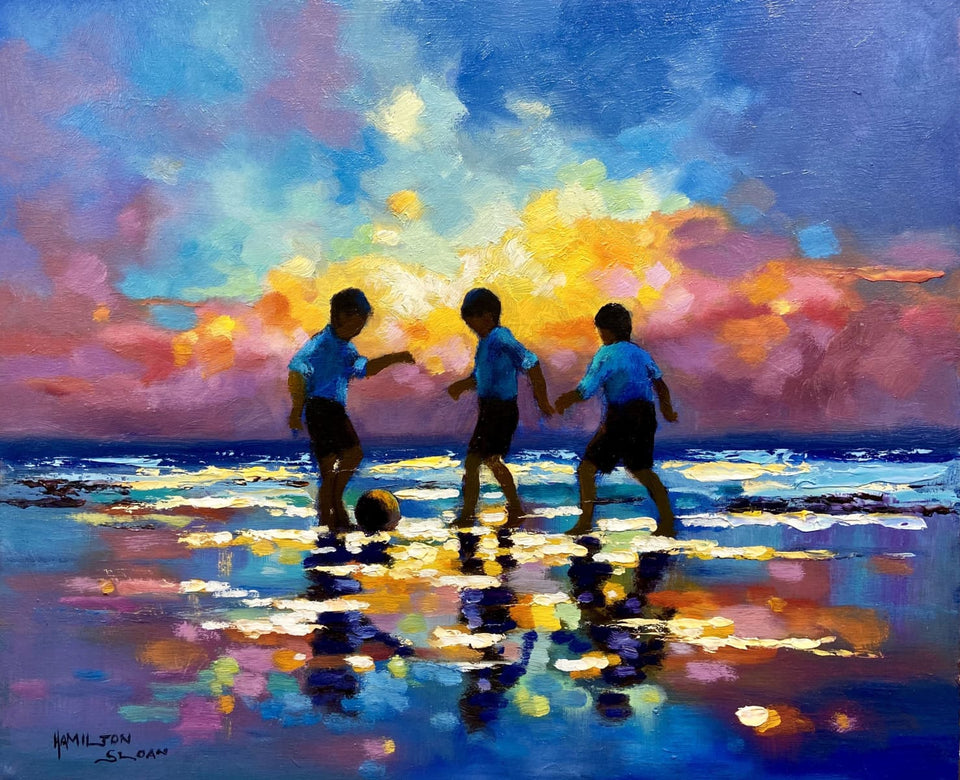 Young Footballers By Sunset Original Artwork