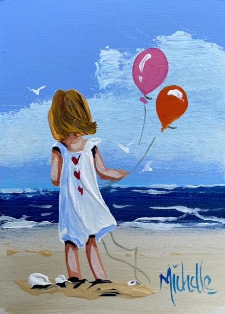 Young Girl With Balloons 7 X 5 / 17.5 12.5 Oil Original Artwork