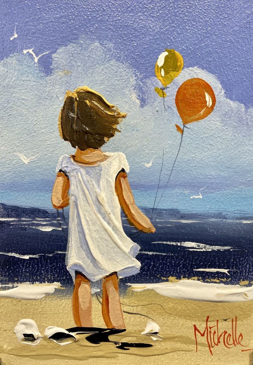 Young Girl With Balloons Original Artwork