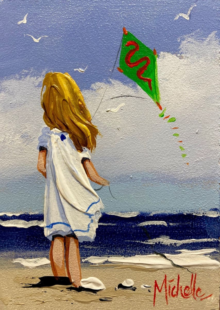 Young Girl With Kite Original Artwork