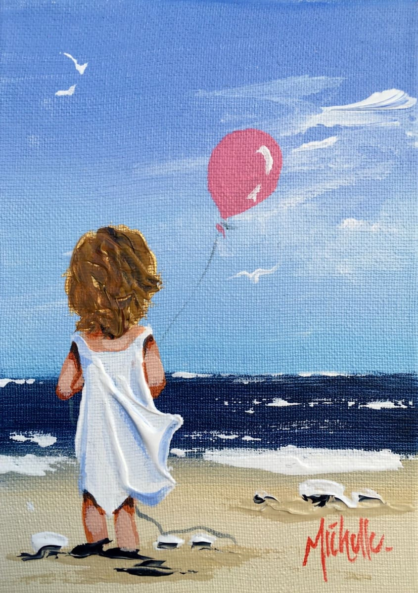 Young Girl With Pink Balloon Original Artwork