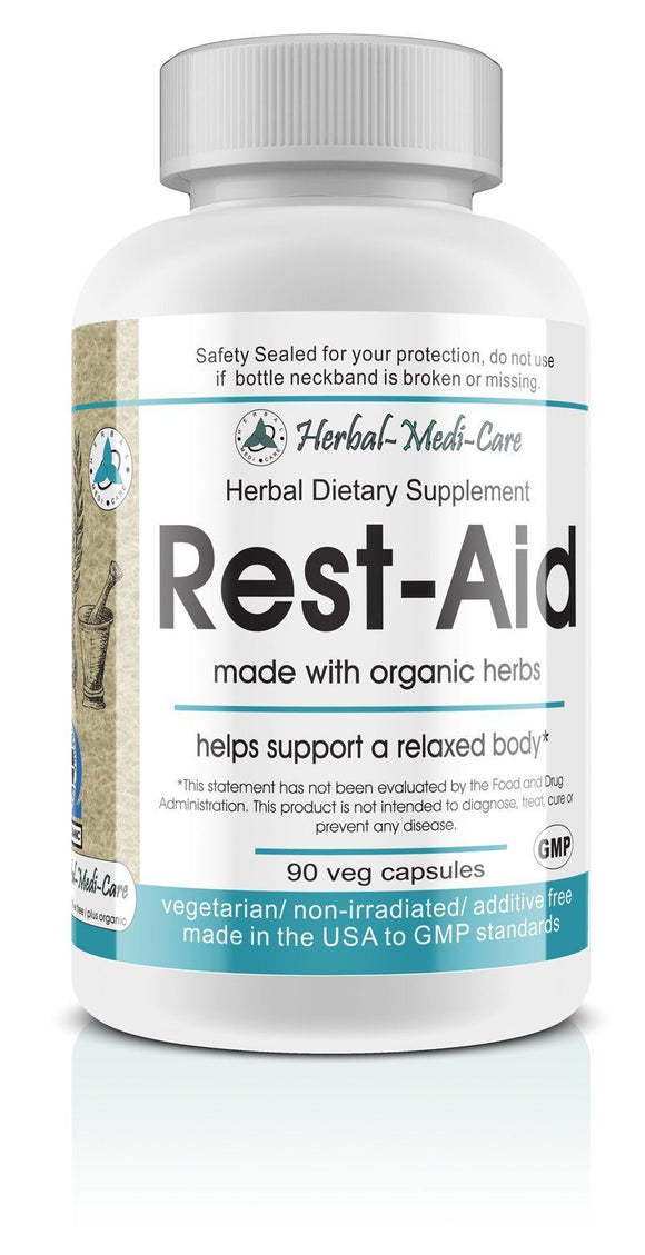 Whole Food Rest-Aid (Stress & Sleep) Vegetarian Capsules; 90-Count, Made with Organic