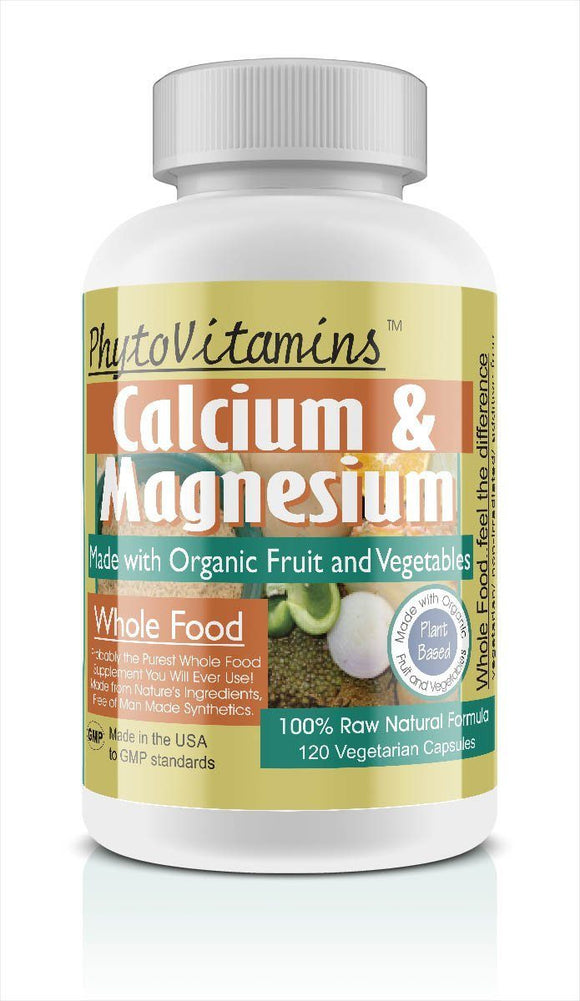 Whole Food Calcium & Magnesium Vegetarian Capsules; 120-Count, Made with Organic