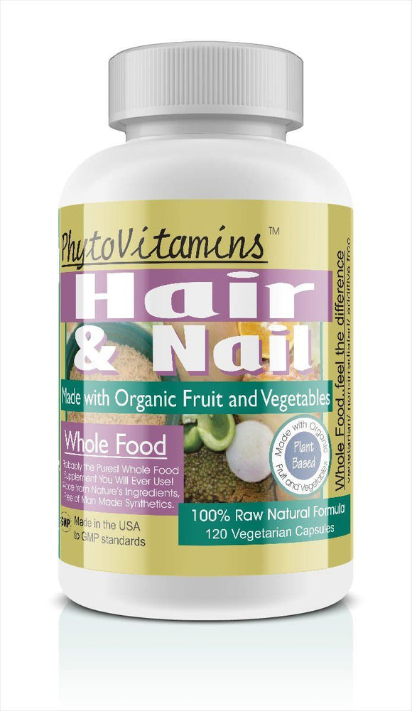 Whole Food Hair & Nail Vegetarian Capsules; 120-Count, Made with Organic