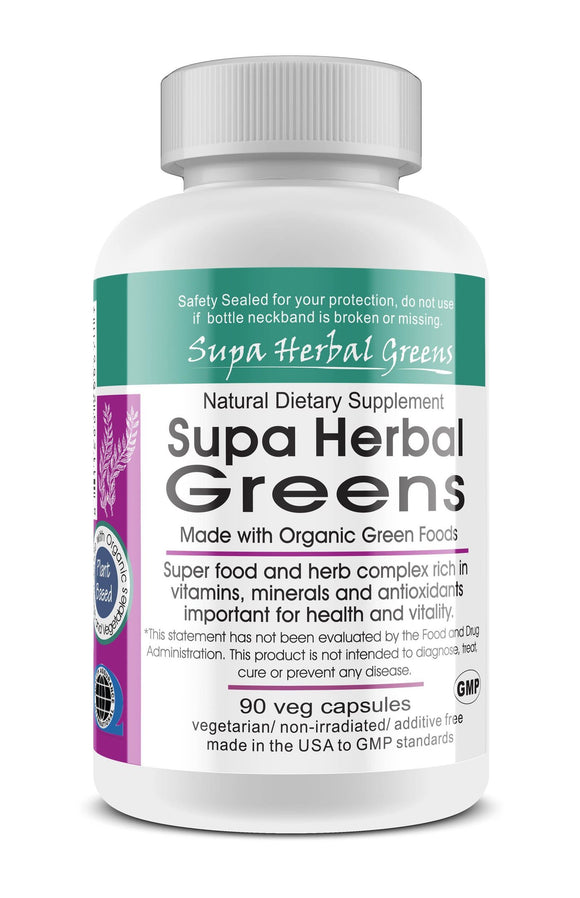 Supa Herbal Greens Whole Food Vegetarian Capsules; 90-Count, Made with Organic
