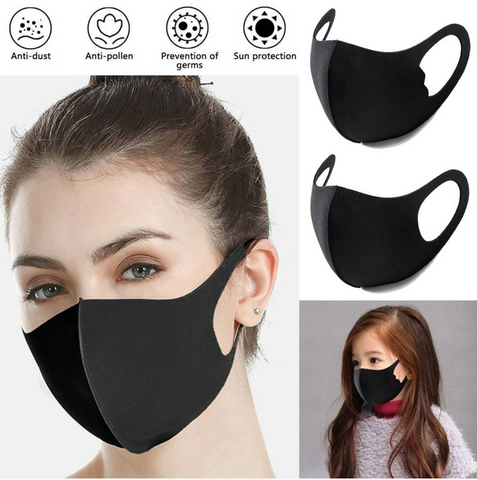 Black washable protective masks