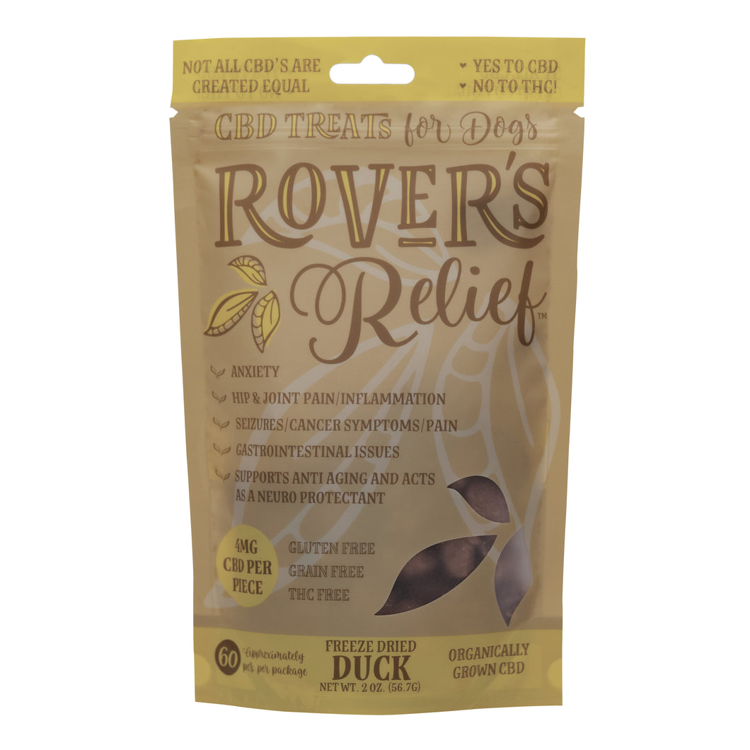 Rover's Relief CBD Dog Treats DUCK 4MG - FOR LARGE BREEDS - 100% THC