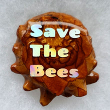 Load image into Gallery viewer, Honey comb with opal save the bees on the back