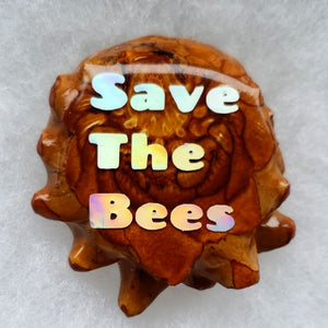 Honey comb with opal save the bees on the back