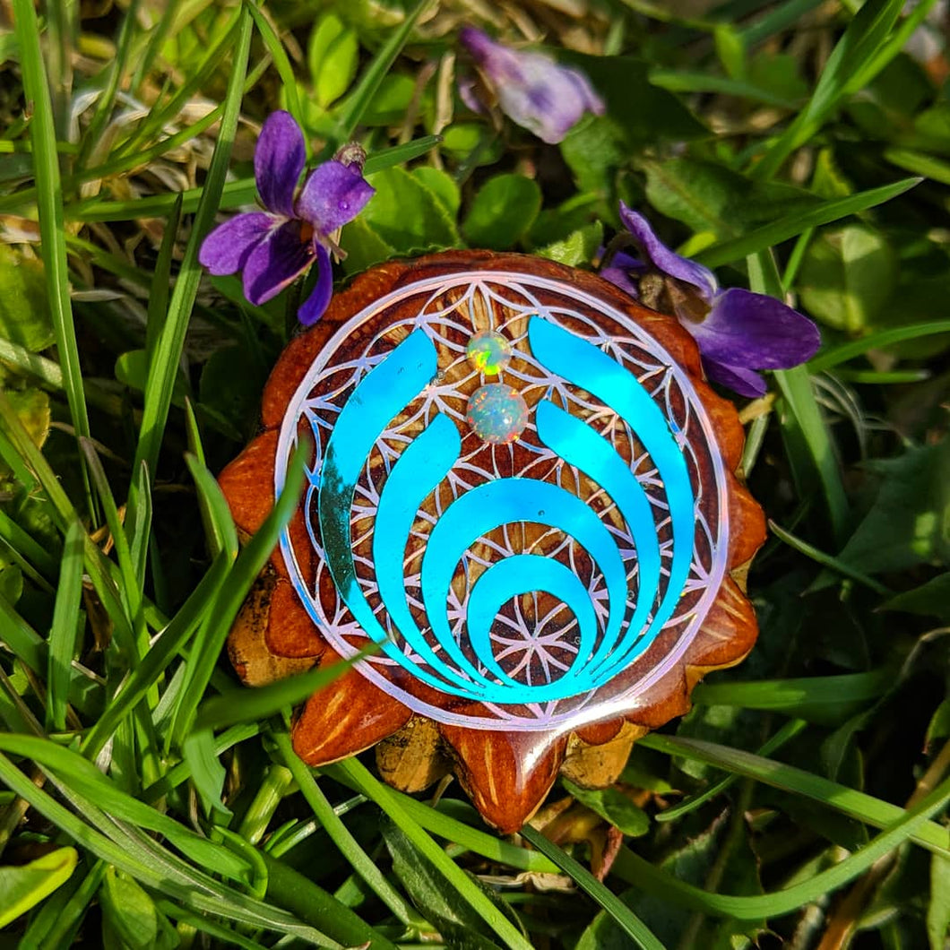 Bassdrop with opals pinecone pendant