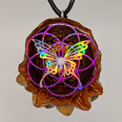 Seed of life butterfly with opal