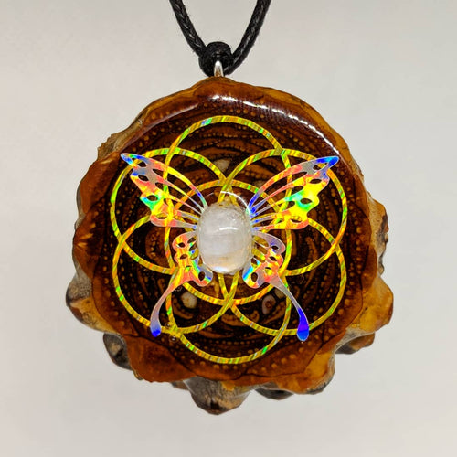 Gold Lazer seed of life with rainbow metallic butterfly and moonstone