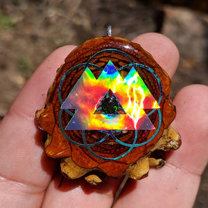 Wakaan over seed of life with black opal