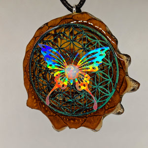 Flower of life with butterfly and opal