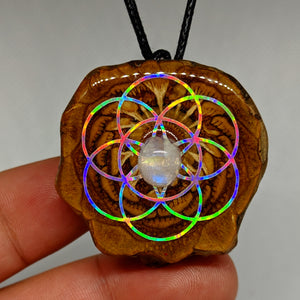 Moonstone seed of life pinecone pendant