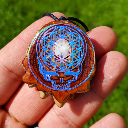 Grateful dead steely with flower of life and moonstone