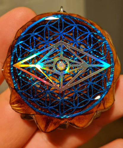 Slander over flower of life with opal