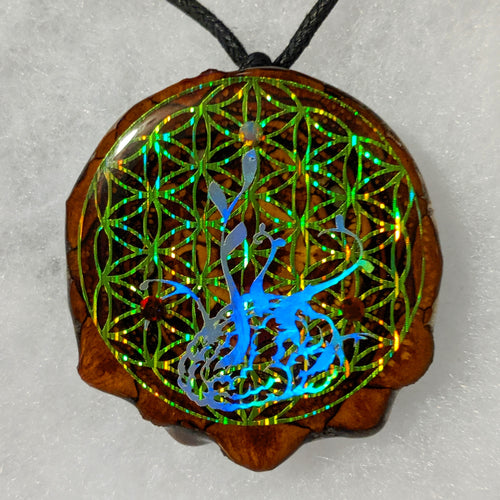 Ganja white night over Flower of Life with opals
