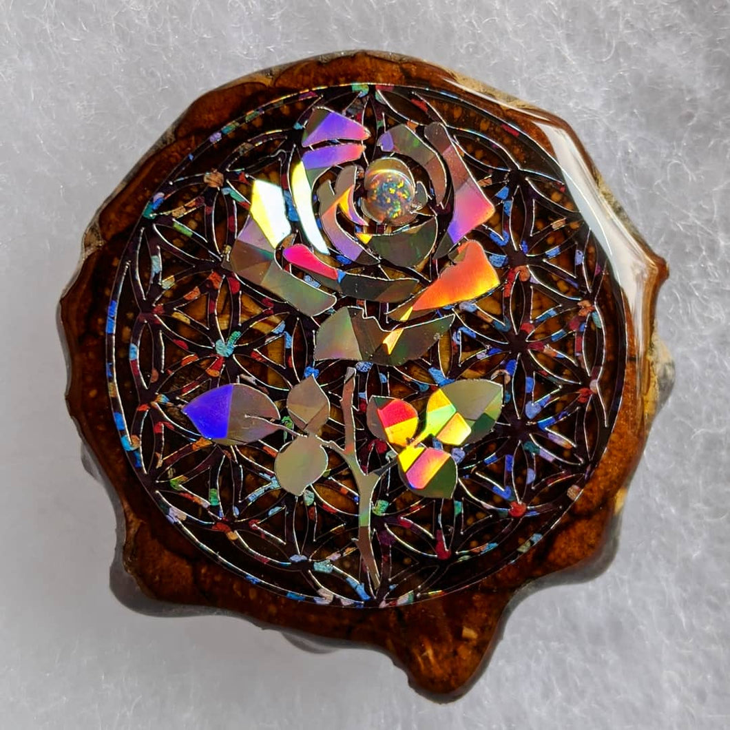 Rose over flower of life with opal