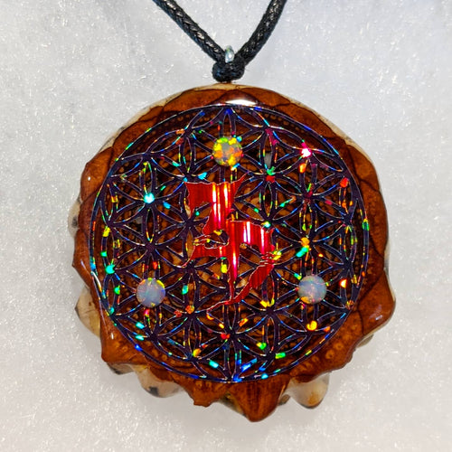 ZD over flower of Life with 3 opals