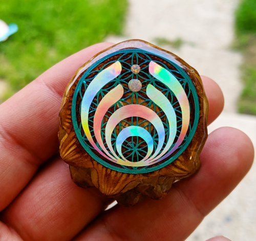 Bassdrop over flower of Life w/opals
